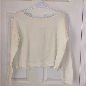 GARAGE   White Boxy Chenille Sweater
